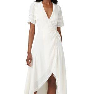 Reformation lottie wrap dress cardigan cream